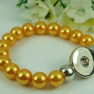 Mustard Interchangeable Snap Button Bracelet